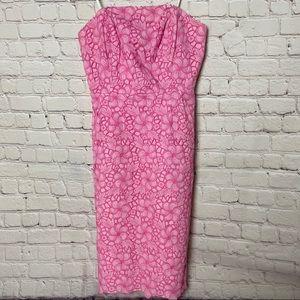 Vintage Lily Pulitzer Floral Lace Strapless Dress